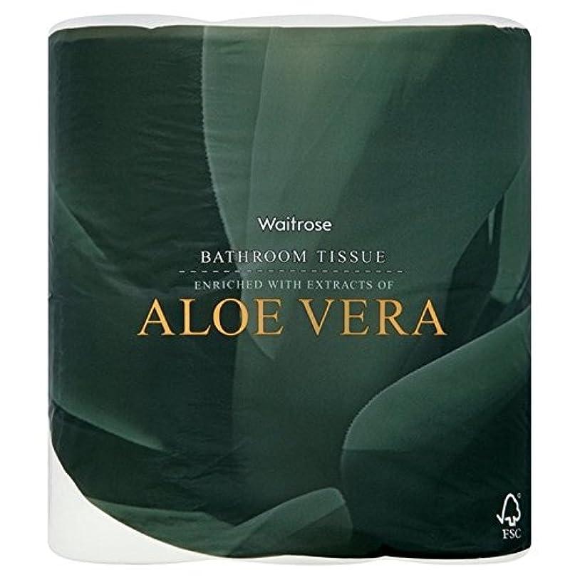 パックあたりアロエベラ浴室組織白ウェイトローズ4 x2 - Aloe Vera Bathroom Tissue White Waitrose 4 per pack (Pack of 2) [並行輸入品]