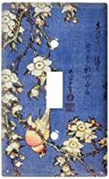 Hokusai : Weeping Cherry & Bullfinchスイッチプレート Single Toggle 491-S-plate 1