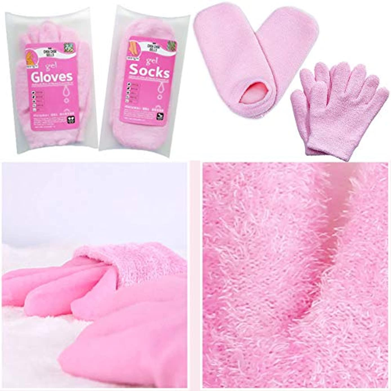 ハンカチフルーツ計り知れないTerGOOSE 美容 保湿 手袋 ゲル 靴下 モイスチャライジングジェルグローブ 手荒れ対策 保湿ケア フット ハンドケア用 便利 ピンク