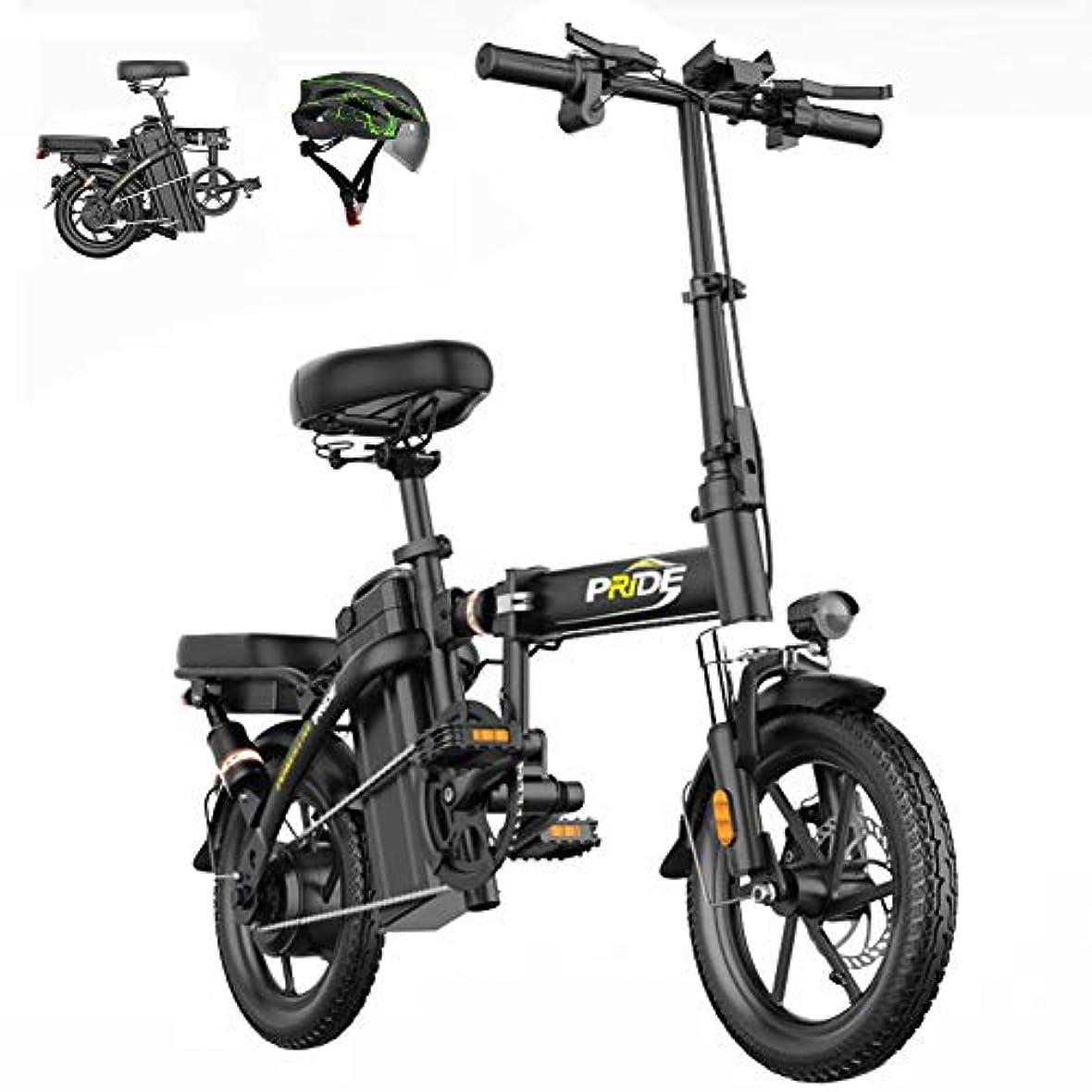 通路大人コスト折りたたみ電動自転車400W / 48Vモーター取り外し可能なリチウムバッテリーUSB充電ポート油圧式デュアルディスクブレーキ14インチ真空防爆タイヤ最高速度35km / h,黒,8ah 40km