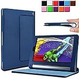 Infiland Lenovo タブレット YOGA Tablet 2 SIMフリー 8インチ 超薄型 超軽型レザー保護ケース スマートオートスリープケース (Lenovo YOGA Tablet 2 8インチ, ネイビーブルー)