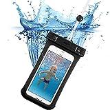 スマホ防水ケース, ESR IPX8防水力 ストラップ付属 高感度PVCタッチスクリーン お風呂 潜水 海水浴 プール 釣り スマホ防水ポーチ 6センチ以下iPhoneとAndroidスマホに対応可能(ブラック)