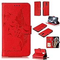 YMF phone case フェザー柄ライチテクスチャ財布&ホルダー&LGスタイロ4用のカードスロット付き水平フリップレザーケース(レッド) (Color : Red)
