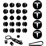 Wheel Cap Kit Center Cap Set and Wheel Lug Nut Cover fit for Tesla Model 3 Aero White