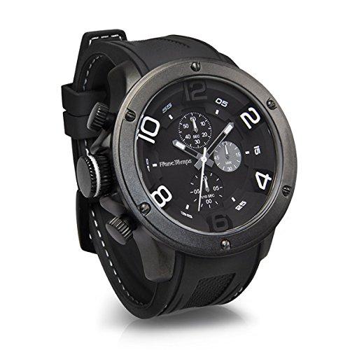 [フランテンプス]Franc Temps 腕時計 ガヴァルニ クロノグラフ (ホワイト) 黒文字盤 10気圧 防水 クオーツ ...