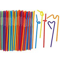 Juvale 200 Count Bendy Straws - Bulk Pack Party Straws, Flexible Extra Long Plastic Straws for Birthdays, Parties, Celebrations - 11 inches [並行輸入品]