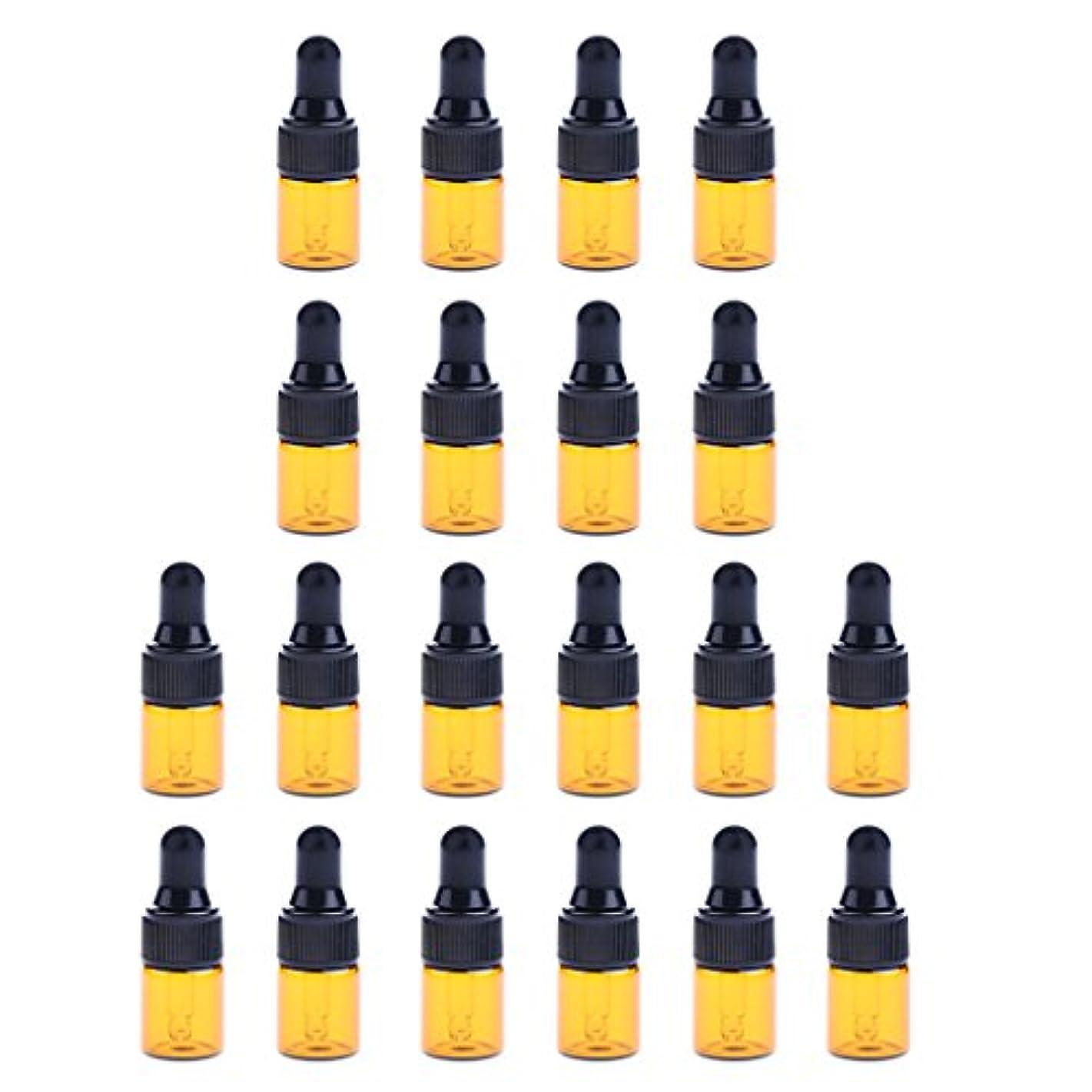 透ける私の抵抗する約20個 ガラスボトル スポイトボトル コスメ用 詰替え ボトル オイル ミニサイズ メイク道具 3サイズ選べる - 2ML