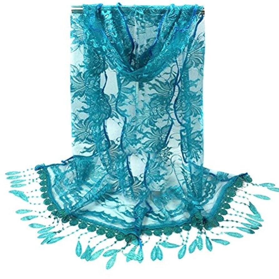 サッカーたぶん強風[SakuraBest] 女性ロングスカーフタッセルショールフラワーレーススカーフ