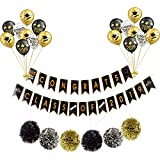 PoshPeanut Pastel Happy Birthday Banner Decoration for Boys and Girls Parties Black and Gold Perfect for 21st 30th 40th 50th Birthday Party Supplies by PoshPeanut