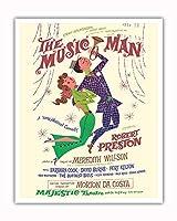 ミュージックマン - 出演:ロバート・プレストン - マジェスティックシアター、ブロードウェイ - ビンテージな劇場のポスター によって作成された デイヴィッド・クライン c.1957 - アートポスター - 41cm x 51cm