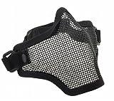 サバゲー フェイスガードマスク ハーフメッシュ マスク メッシュ 構造 で 通気性 抜群 ブラック グリーン 茶色 (ブラック)