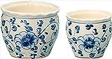 陶器植木鉢2点セット 【陶器 植木鉢 2点 セット おしゃれ 白 ホワイト 植木 花 木 盆栽 インテリア 趣味 かわいい シンプル 人気】