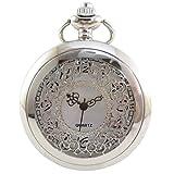 [モノジー] MONOZY アンティーク ネックレス 時計 ふた付き 透かし彫り 懐中時計 ペンダント 収納袋 化粧箱 (銀色)