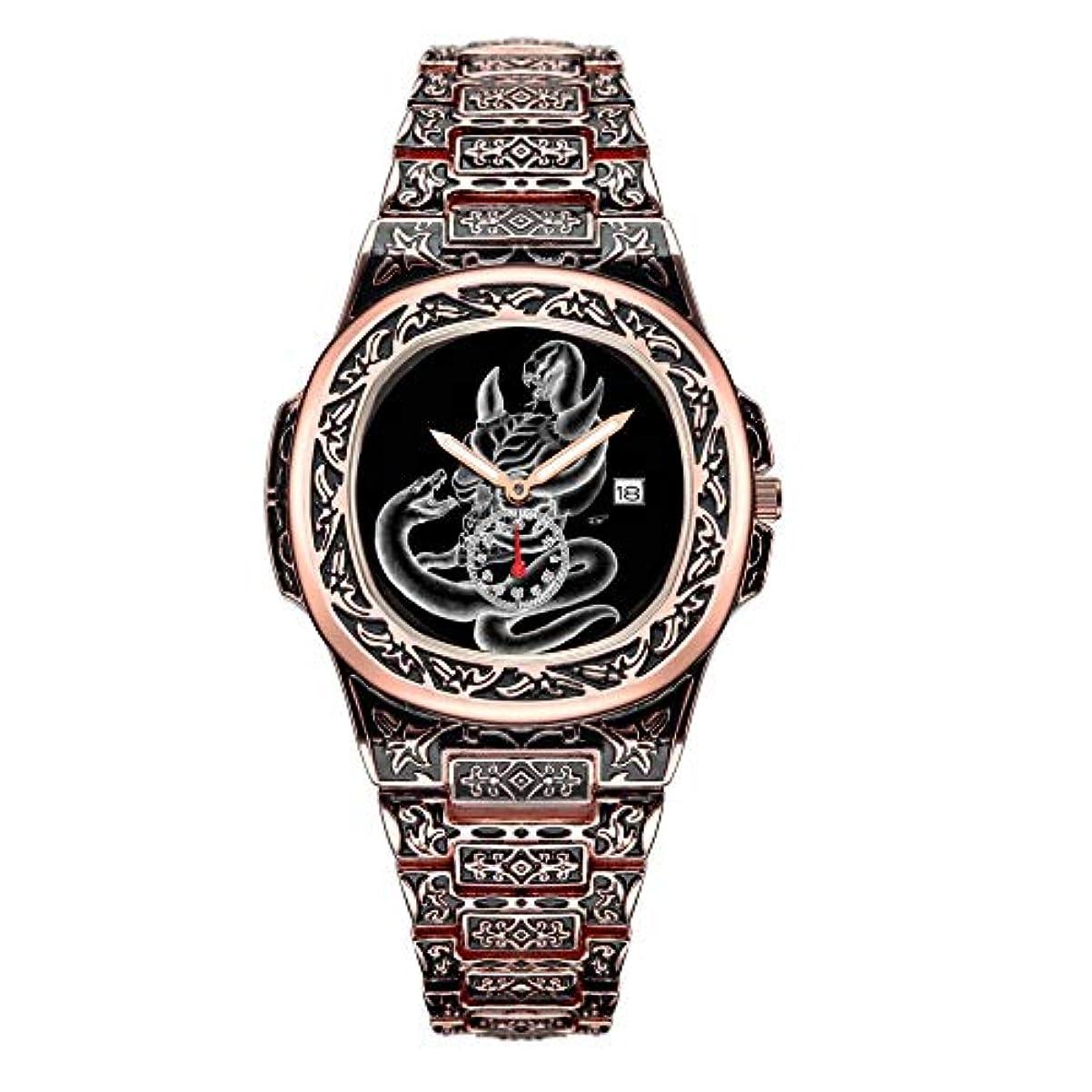 反発電気の電気のメンズコレクションローズゴールドヘビーデューティスカルウォッチ242.Skull-蛇の腕時計が付いた悪魔の頭