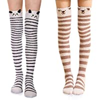 Wander G Womens Over Knee High Fuzzy Socks Cute Cartoon Thigh High Stockings Warm Stripe Leg Warmers - - Free Size