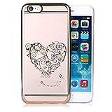 Infinite U iPhone6/6sケース カバー 携帯保護ケース 4.7インチスマホカバー  クリアシリコン ラインストーン付きオープンハート絵柄 硬質ケース 防塵 TPU レディース用(ピンクゴールド)