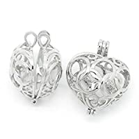 Housweety 3PCs Copper Charm Pendants Hollow Heart Bead Cages Silver Tone (Style 1) [並行輸入品]