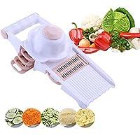 マンドリンスライサー5の1 野菜カッターフードチョッパー チーズおろし金キッチン 5つの交換可能な鋭い刃を使って、 イージーグリップ 滑り止めハンドル 保護ハンドガード,Pink