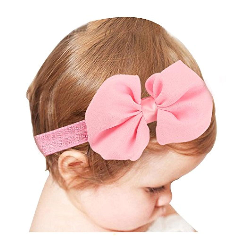 Merssavo ベビーパフィーボウヘアバンドソフトエラスティックヘッドバンドヘアアクセサリーバンドx 1(ピンク)