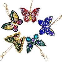 キーホルダーダイヤモンド5 PC蝶々シリーズ装飾クロスステッチ手作りDIYオールストーン装飾工芸品 (マルチカラー)