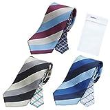 メンズ ウーノ 洗えるネクタイ 3本セット 洗濯ネット1個付き 撥水加工 ウォッシャブル加工 unk-3set レジメン