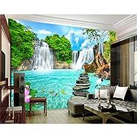 Zwlbp モダンな家の背景装飾的な3D壁紙風景滝スレートロータス壁画壁紙リビングルーム-120X100Cm