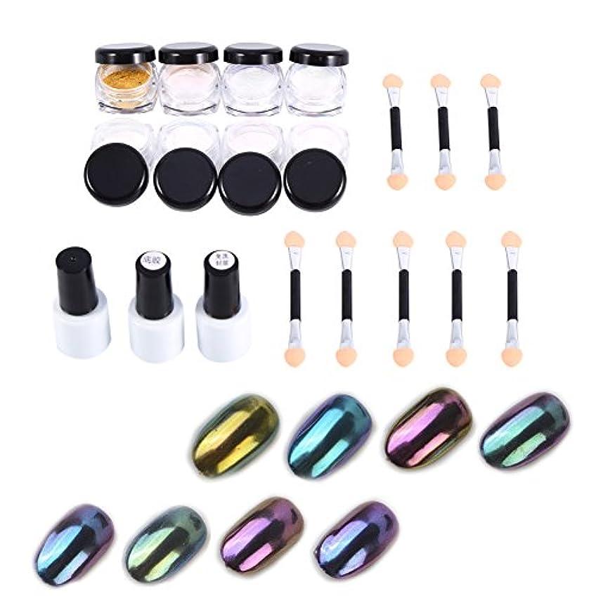 ベール錫普遍的なネイルパウダー、19個のネイルグリッターパウダーセットネイルアートDIYのブラシ付きダストクロム顔料メタリックUVジェル