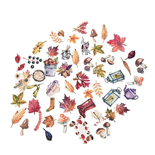 (ライチ) Lychee 50枚入り ステッカー 「秋」 木の葉 紅葉 清楚系 森ガールっぽい 綺麗 壁の装飾 ...