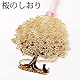 桜のしおりB (SKG002)金の栞シリーズ24K表面加工金属製ブックマーカーMetal bookmark, Gold cherry