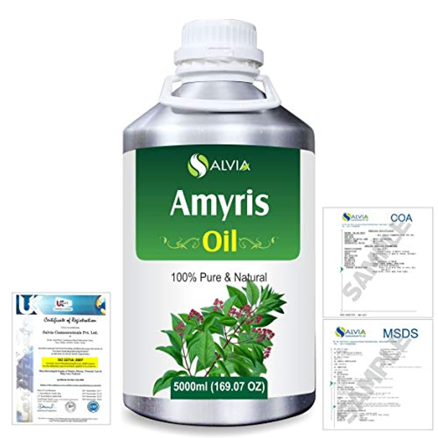 日付付き薄いですコンバーチブルAmyris (Amyris balsamifera) 100% Natural Pure Essential Oil 5000ml/169fl.oz.
