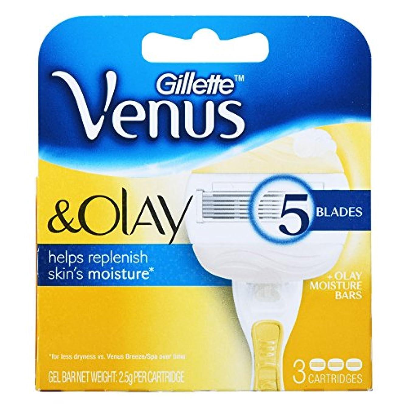 自然起こるスタックGillette Venus Olay Razor Blades カートリッジブレード 3 Pcs [並行輸入品]