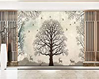 Ansyny 壁紙手描き鳥木森鹿ベッドルームリビングルームソファテレビ背景壁3d壁紙壁画-130X100CM