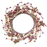 Burgundy & Old Gold Pip Berry Ring Wreath Rusty Stars Country Primitive Floral D?cor