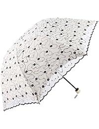 Godlovefull日傘 折りたたみ レース日傘 刺繍 二重張り UVカット コンパクト 耐風 晴雨兼用 遮熱遮光