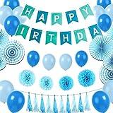 誕生日 バルーン お祝い 飾 HAPPY BIRTHDAYパーティー飾り物セット バースデー パーティー デコレーション 装飾 (ブルー)