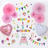 ハーフバースデー ウォールステッカー 誕生日 カラフル 飾り バースデー バースデイ 1歳 2歳 かわいい おしゃれ 女の子 ペーパーファン バルーン 風船 パーティー birthday Birthday