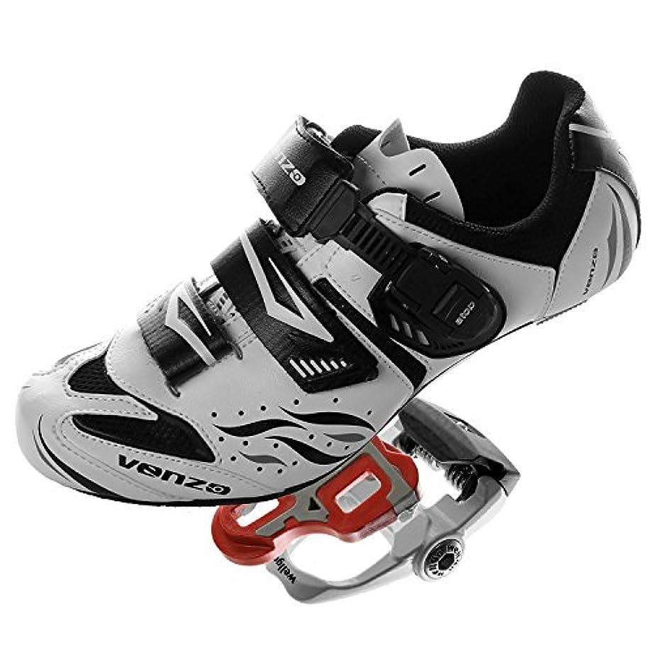 指紋普通に海外Venzo シマノSpdのS1のルックサイクリング自転車シューズ&封印されたペダル用ロードバイク 41