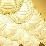 Homankit 紙のランプシェード ボール型 古典的 ランプ 電球 和室に合う デコレーション DIY 直径20cm 5個セット ホワイト