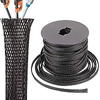 PET 伸縮編み込みスリーブ 1/8インチ Flexo ケーブルスリーブ ブラック 編組スリーブ 編組ワイヤースリーブ管理コードプロテクター 100フィート ブラック ケーブルスリーブ