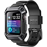 SUPCASE Case for Apple Watch 4 Case 44mm 2018, Rugged Protective Case with Strap Bands for Apple Watch Series 4 [Unicorn Beetle Pro] (Black)