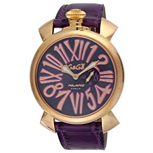 [ガガミラノ]GAGA MILANO 腕時計 スリム46mm パープル文字盤 ステンレス(PGPVD) ケース カーフ革ベルト 50853 メンズ 【並行輸入品】