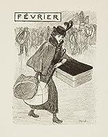 Almanach du bibliophile (プレート2月)ポスター(アーティスト: Steinlen , Theophile Alexandre )フランスC。1901 16 x 24 Giclee Print LANT-61766-16x24