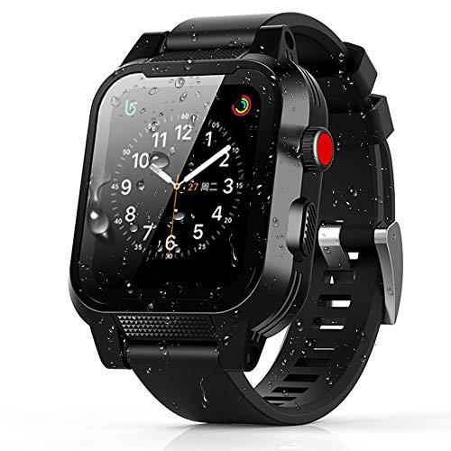 Apple Watch 42mm ケース バンド 一体 落下衝撃 吸収 シリコンバンド 柔らかい スポーツに向け 交換バンド 装着簡単 Apple Watch Series 3/2/1対応(ブラック 42mm)