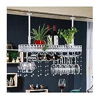 逆さまホームゴブレットラックヨーロッパ鉄ワイングラスラックバーワインラックぶら下げワインキャビネット装飾ハンガー装飾(色:白、サイズ:60 * 25cm)
