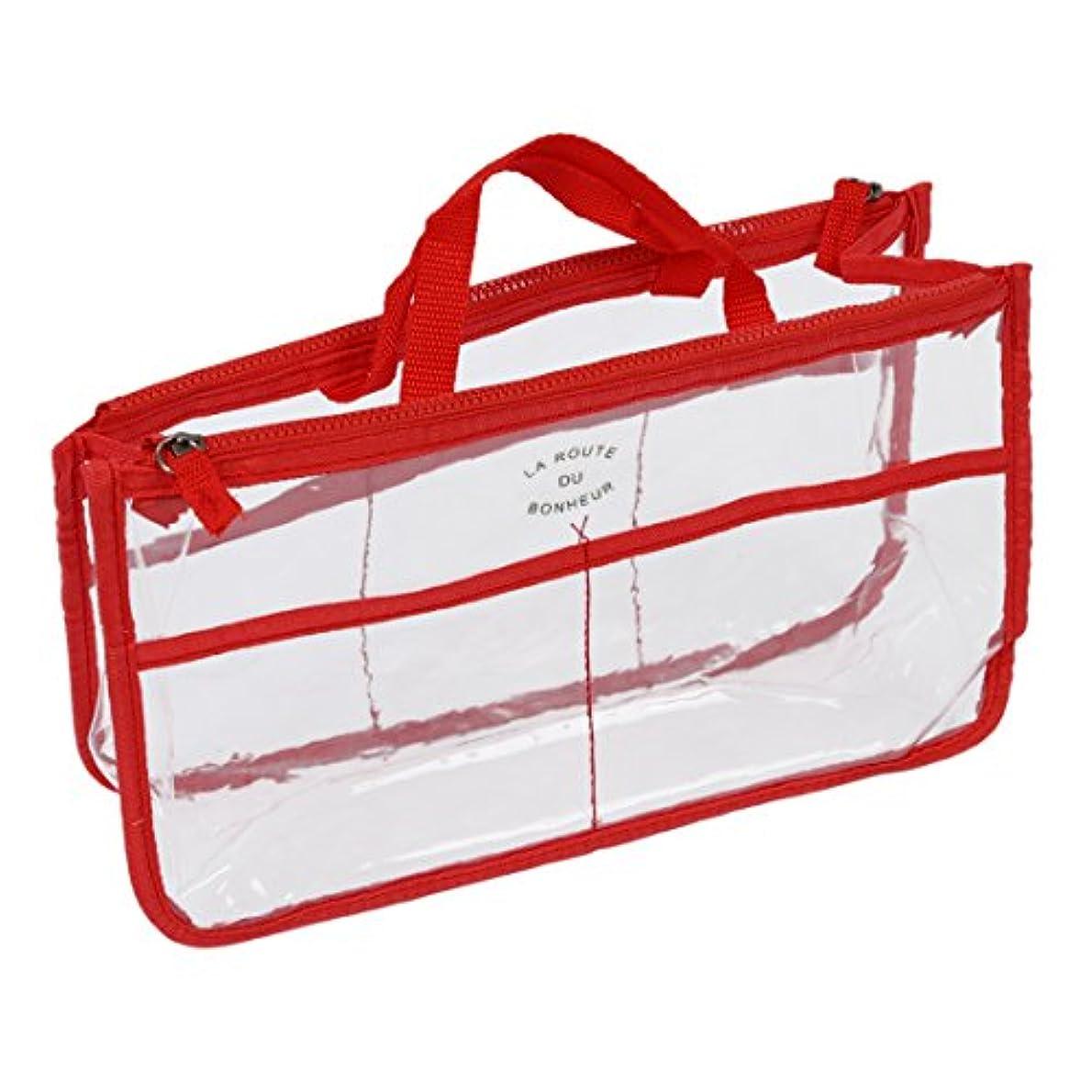 調和デンマーク語子孫ハンドバッグ,SODIAL(R)透明なバッグインバッグ インサート 化粧品 ガジェット 財布(赤)