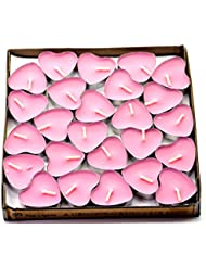 (Pink(rose)) - Creationtop Scented Candles Tea Lights Mini Hearts Home Decor Aroma Candles Set of 50 pcs mini...
