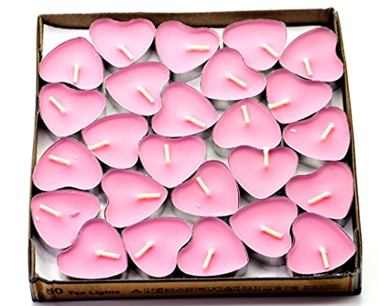 (Pink(rose)) - Creationtop Scented Candles Tea Lights Mini Hearts Home Decor Aroma Candles Set of 50 pcs mini...