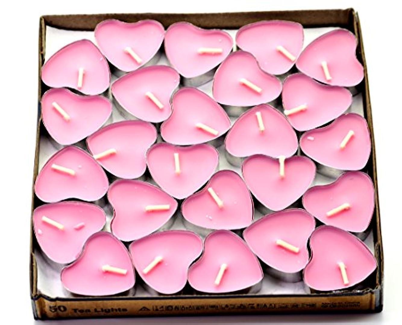 スポンジクスクス操縦する(Pink(rose)) - Creationtop Scented Candles Tea Lights Mini Hearts Home Decor Aroma Candles Set of 50 pcs mini...