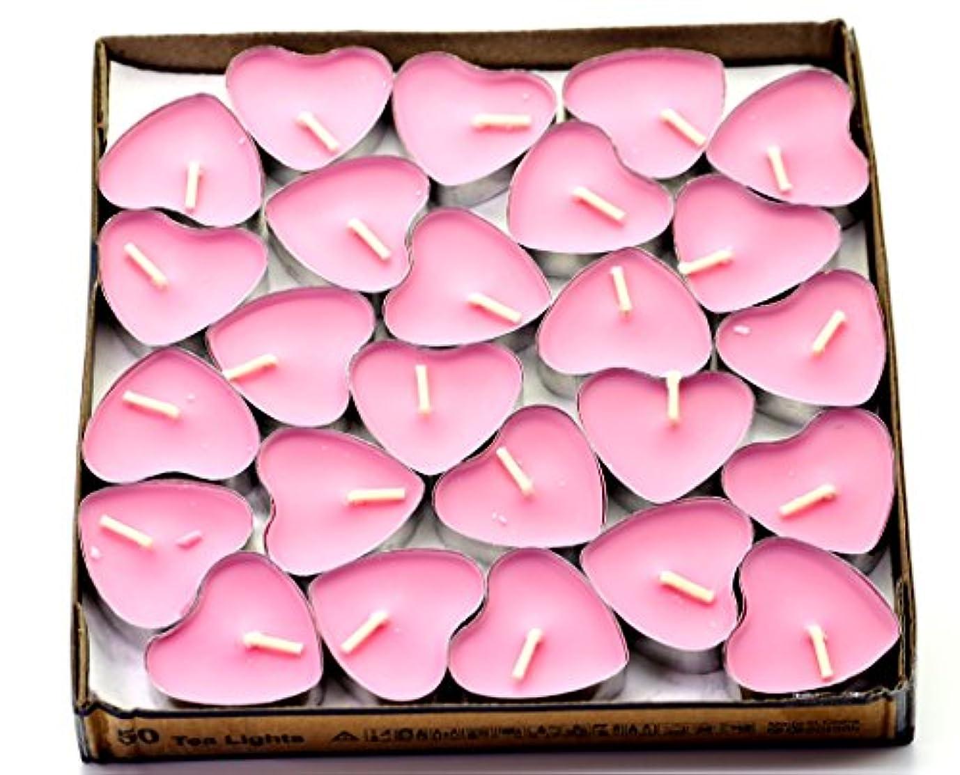 悪名高い貫通彫る(Pink(rose)) - Creationtop Scented Candles Tea Lights Mini Hearts Home Decor Aroma Candles Set of 50 pcs mini...