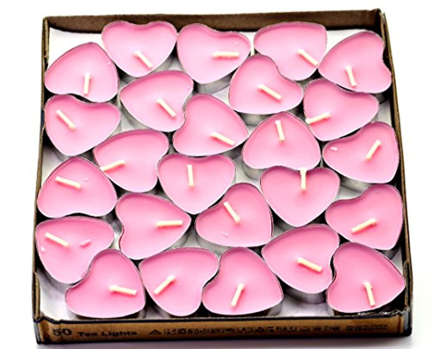 賛美歌後継オリエンタル(Pink(rose)) - Creationtop Scented Candles Tea Lights Mini Hearts Home Decor Aroma Candles Set of 50 pcs mini...